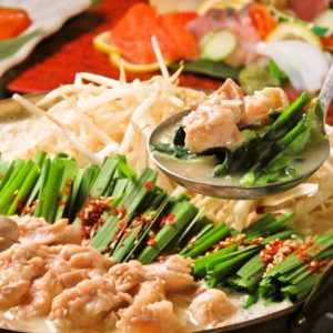 博多の居酒屋でもつ鍋や水炊きを楽しめる宴会。